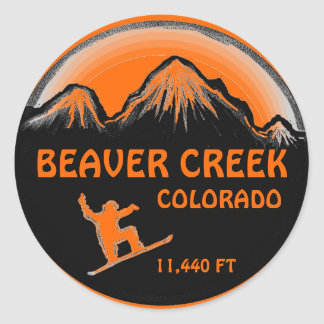 Beaver Creek Colorado orange snowboard art sticker