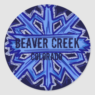 Beaver Creek Colorado snowflake round stickers