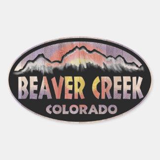 Beaver Creek Colorado wood flag oval stickers