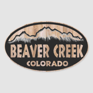 Beaver Creek Colorado wooden sign oval stickers
