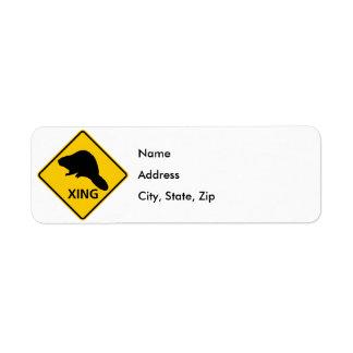 Beaver Crossing Highway Sign Return Address Label