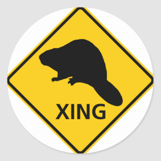 Beaver Crossing Highway Sign Round Sticker