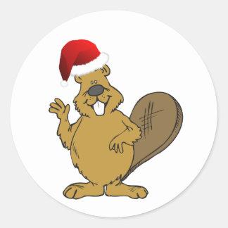 Beaver cute santa hat classic round sticker