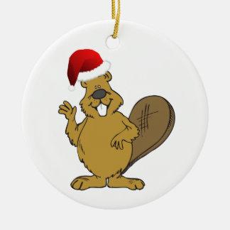 Beaver cute santa hat round ceramic decoration