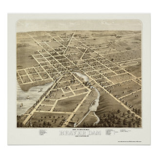 Beaver Dam, WI Panoramic Map - 1867 Poster