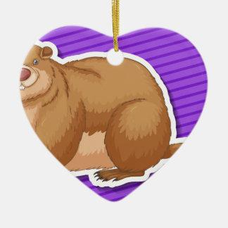 Beaver Ceramic Heart Decoration