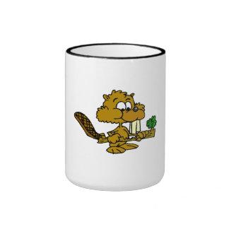 Beaver Eating Branch Coffee Mugs