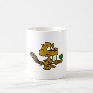 Beaver Eating Branch Coffee Mug