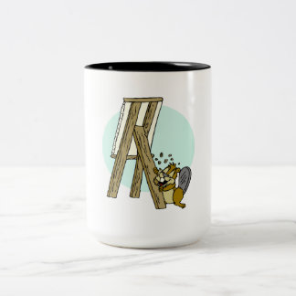 Beaver Eating Easel Coffee Mug
