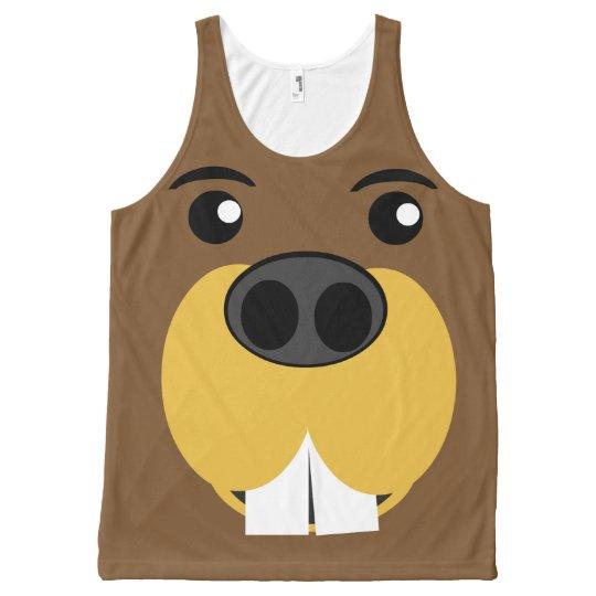 Beaver Face All-Over Print Tank Top