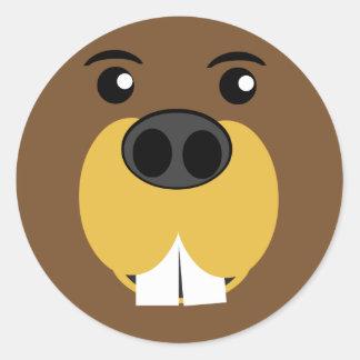 Beaver Face Classic Round Sticker