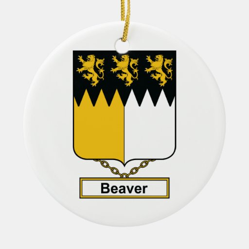 Beaver Family Crest Christmas Tree Ornament