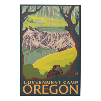 Beaver Family - Government Camp, Oregon Wood Wall Art