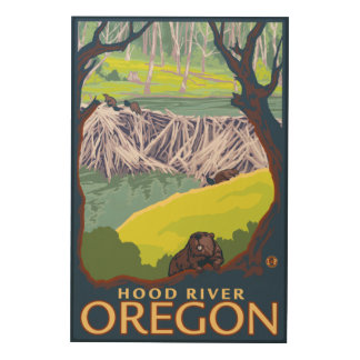Beaver Family - Hood River, Oregon Wood Wall Art