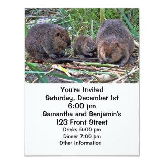 """Beaver Family 4.25"""" X 5.5"""" Invitation Card"""