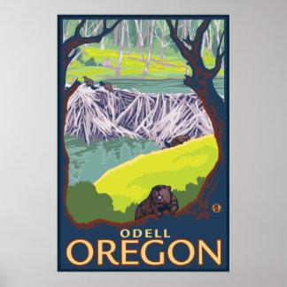 Beaver Family - Odell, Oregon Poster