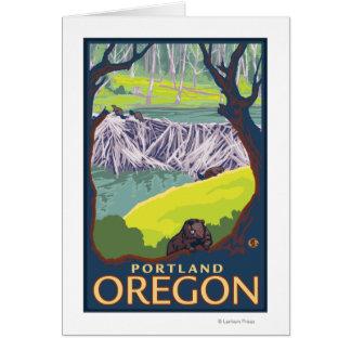 Beaver Family - Portland, Oregon Card