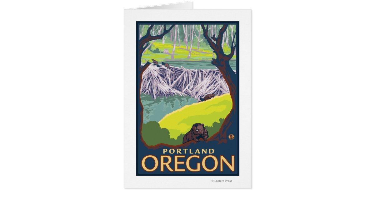 Beaver Family - Portland, Oregon Greeting Card | Zazzle