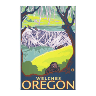 Beaver Family - Welches, Oregon Canvas Print
