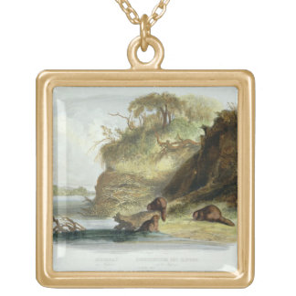 Beaver Hut on the Missouri, plate 17 from volume 1 Gold Plated Necklace