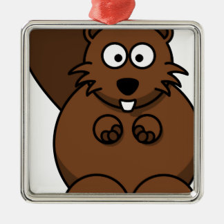 Beaver Lemmling. Silver-Colored Square Decoration