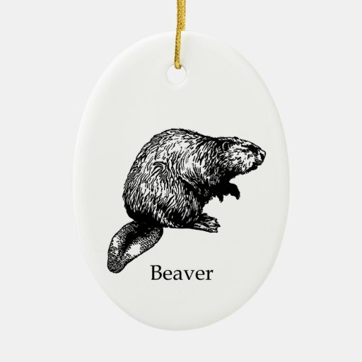 Beaver (line art) christmas tree ornaments