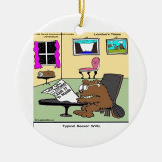 Beaver Living Wills Rick London Funny Round Ceramic Decoration