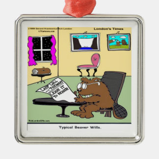 Beaver Living Wills Rick London Funny Silver-Colored Square Decoration