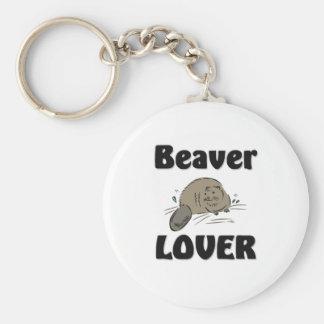 Beaver Lover Basic Round Button Key Ring