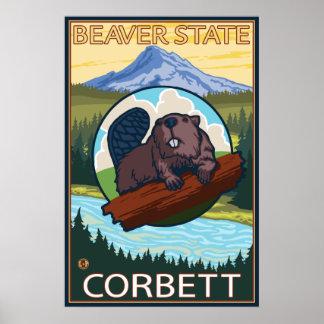 Beaver & Mt. Hood - Corbett, Oregon Poster
