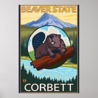 Beaver & Mt. Hood - Corbett, Oregon Posters