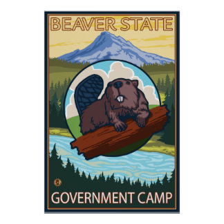 Beaver & Mt. Hood - Government Camp, Oregon Poster