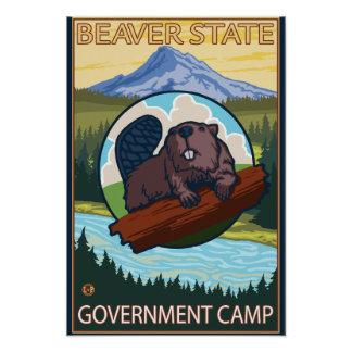 Beaver & Mt. Hood - Government Camp, Oregon Poster