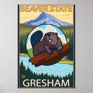 Beaver & Mt. Hood - Gresham, Oregon Poster