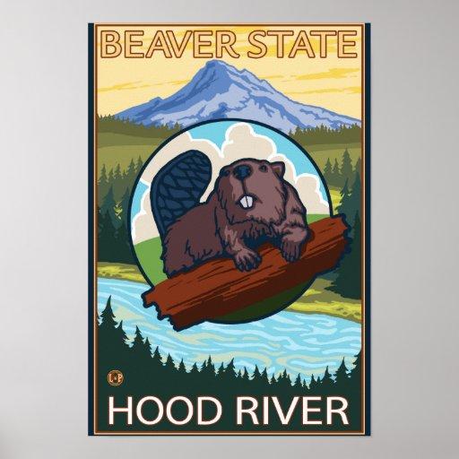 Beaver & Mt. Hood - Hood River, Oregon Posters