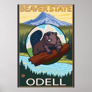 Beaver & Mt. Hood - Odell, Oregon Poster