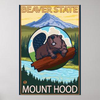 Beaver & Mt. Hood, OregonVintage Travel Poster