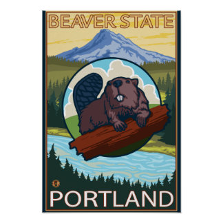 Beaver & Mt. Hood - Portland, Oregon Poster
