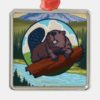Beaver & Mt. Hood - Troutdale, Oregon Silver-Colored Square Decoration