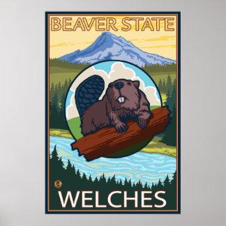 Beaver & Mt. Hood - Welches, Oregon Poster