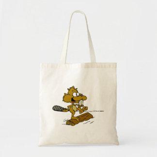 Beaver On Log Tote Bag