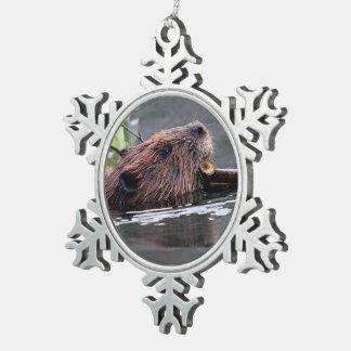beaver pewter snowflake decoration