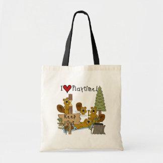 Beaver Playtime Tote Bags