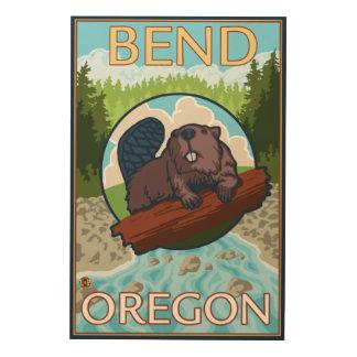 Beaver & River - Bend, Oregon Wood Print