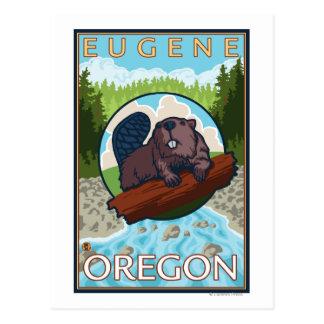 Beaver & River - Eugene, Oregon Postcard