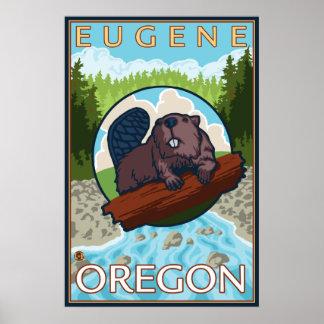Beaver & River - Eugene, Oregon Poster