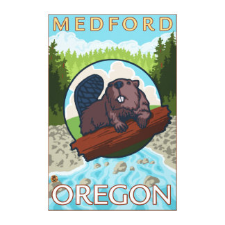 Beaver & River - Medford, Oregon Canvas Print