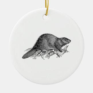 Beaver Round Ceramic Decoration