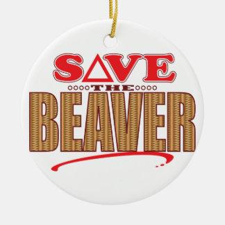 Beaver Save Round Ceramic Decoration