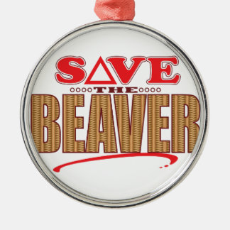 Beaver Save Silver-Colored Round Decoration